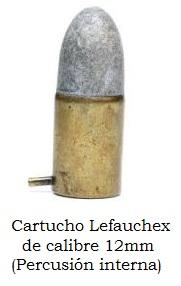 cartucho lefauchex calibre 12 mm
