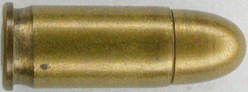 Cartucho 7,65 Browning o .32 ACP. En la foto se puede apreciar la pequeña ranura y el reborde reducido.