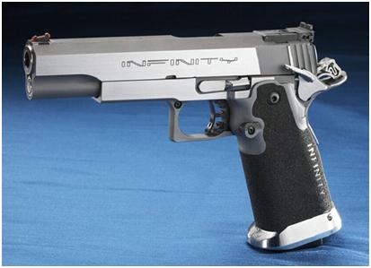 """Infinity """"Wide Body"""" duotone en acero inoxidable. Arma de alta capacidad, la evolución de la Goverment 1911 de 5"""""""