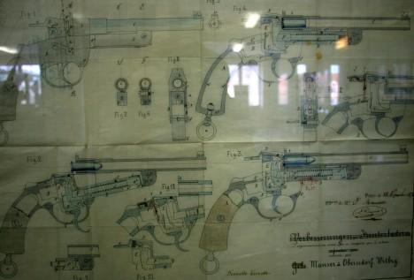 Plano de una de las invenciones de Mauser, en el museo de armas de Oberndorf