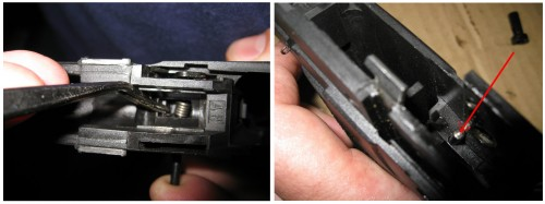 Muelle del disparador y posicionamiento del empujador de la biela.