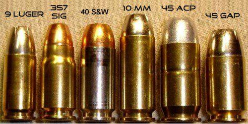 Distintos tipos de calibres de arma corta
