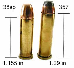 comparacion cartucho .38 especial con .357 Magnum