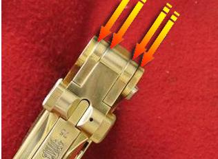 Mal contacto de la zona trasera la articulación del cierre con las aletas del armazón pistola Luger