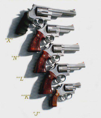 Comparativa de los diferentes tamaños de armazones para revólver de S&W