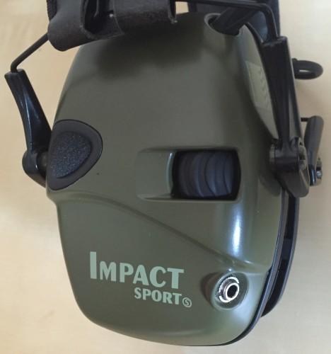 rueda selectora volumen y entrada audio Impact Sport de Howard Leight