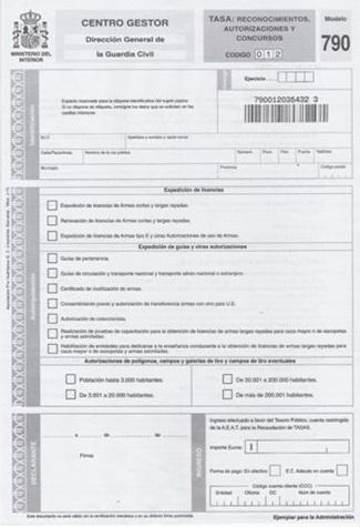 formulario tasas 790 intervención armas