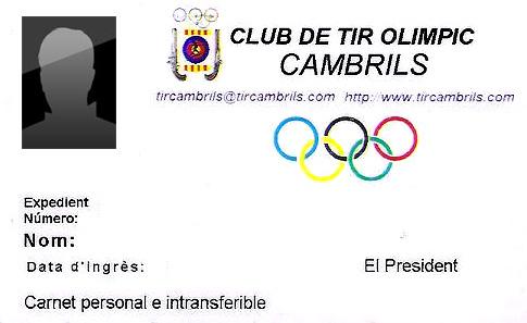 TARJETA CLUB SOCIO Club de tir olímpic Cambrils