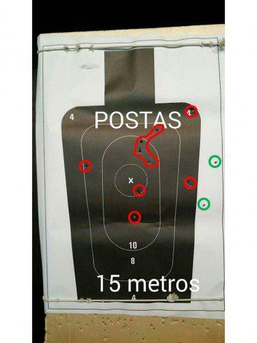dispersión postas escopeta quince metros