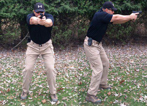 posición isosceles pistola