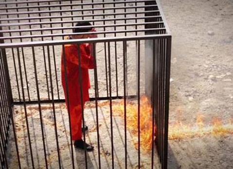 Daesh jaula quemados
