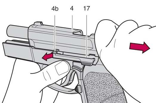 modo de desmontaje de la corredera pistola sig pro