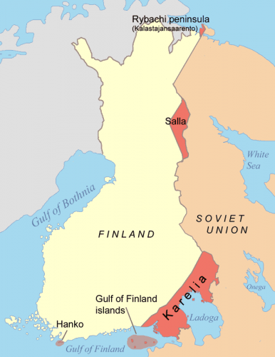 Territorios cedidos por Finlandia tras la guerra