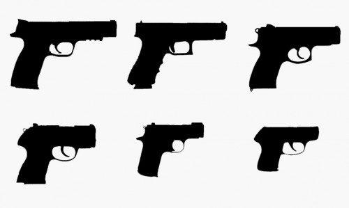 Comparativa del tamaño de distintas armas cortas
