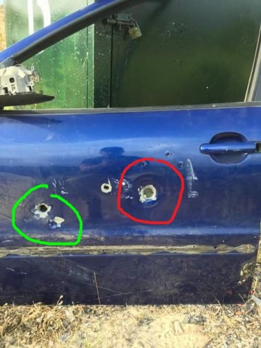 bala escopeta puerta puerta del vehículo