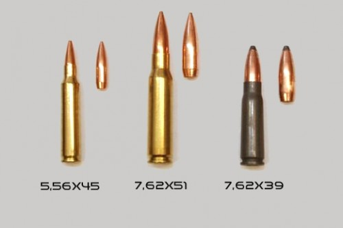 Comparativa entre 7,62x51, el 5,56x45 y el 7,62x39