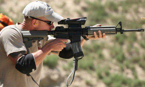 empuñando fusil posición intermedia