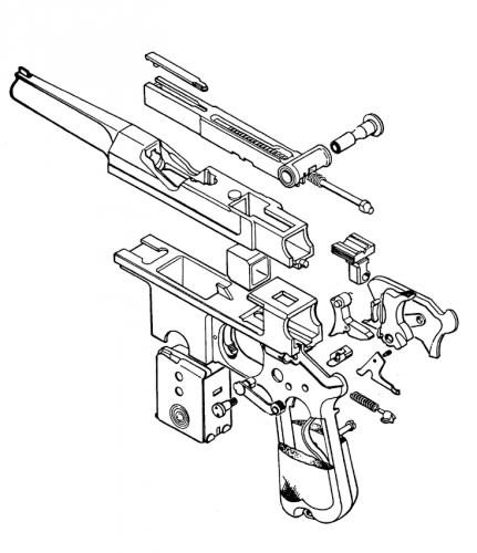 Plano de despiece pistola Bergmann