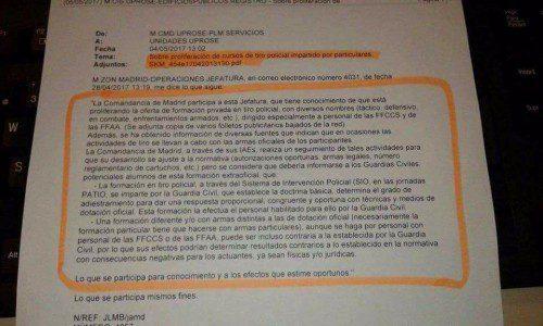 Advertencia de la Comandancia de la GC de Madrid sobre los cursos privados de tiro policial.