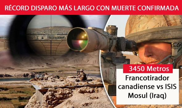 Nuevo récord, 3450 metros es ahora el disparo más largo con muerte confirmada (Mosul).