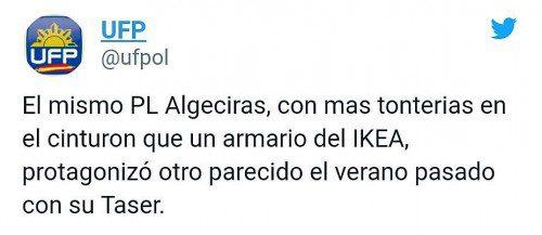 tuit UFP criticando a la policia de Algeciras