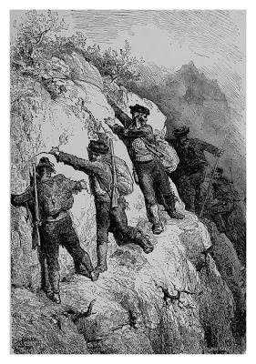 Grabado del artista francés Paul Gustave Doré representando a una cuadrilla de bandoleros andaluces en 1862